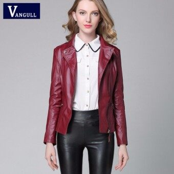 Womens European Fashion PU Leather Jacket Coat LadiesGirls Slim Fit Locomotive leather Coat-Red - intl