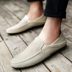 Yikoo Mens Fashion Breathable Linen Canvas Casual Loafers Slip-Ons Flat Shoes (beige) - Intl ราคา 488 บาท(-60%)