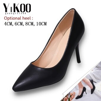 YIKOO Women's Pumps Party Shoes Pointed Toe High Heels High HeeledSandals (Black) 6CM Heel - intl