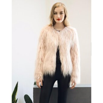 Yohanne Women Coat Long Sleeve Solid Faux Fur Fox Winter Warm Parka Outwear(Pink) - intl