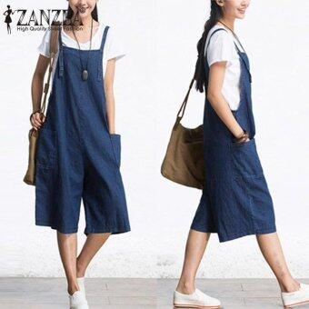 ZANZEA Rompers Womens Jumpsuit Summer Autumn Sleeveless FashionWide Leg Pants Denim Calf Length Vintage Overalls S-5XL - intl
