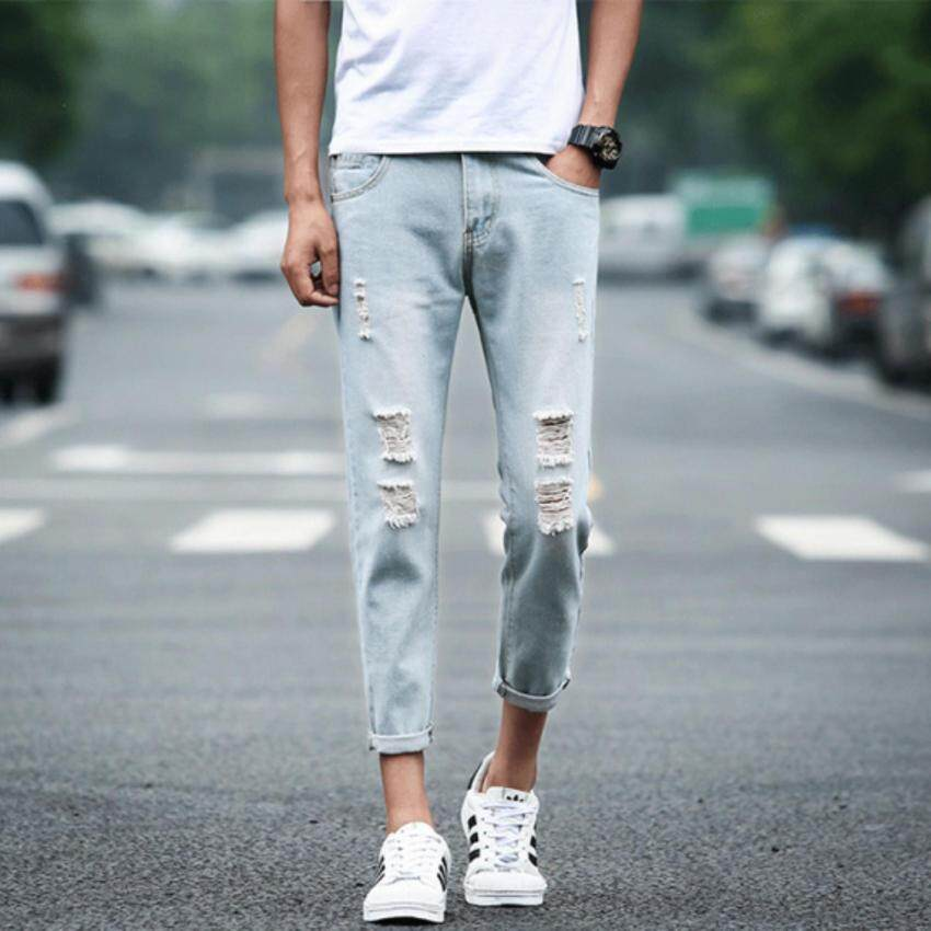 ZH Shopping Do the old jeans light colored pants Light blue - intl