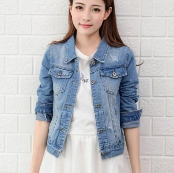 ZH womens fashion comfortable long sleeved slim denim jacket(light blue) - intl