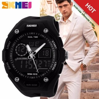 ***100% Genuine*** Men Sport Fashion Hiking Wristwatch Digital Watch 2 Time Zone Watches SKMEI 1015 Waterproof ผู้ชายสีดำยางรัดนาฬิกา 1015