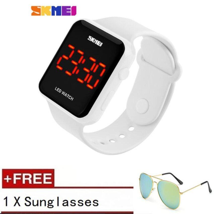 [100% Genuine] SKMEI 1176B Running Sport Watches For Men Silicone LED Digital Electronic Watch Women's Waterproof Wristwatch Male Clock [buy 1 get 1 Sunglasses] - intl