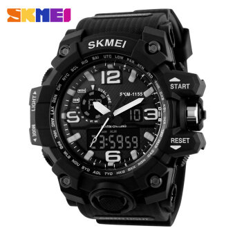 [100% Genuine]SKMEI 1155 Fashion Men Digital LED Display SportWatches Quartz Watch 50M Waterproof Dual Display Wristwatches