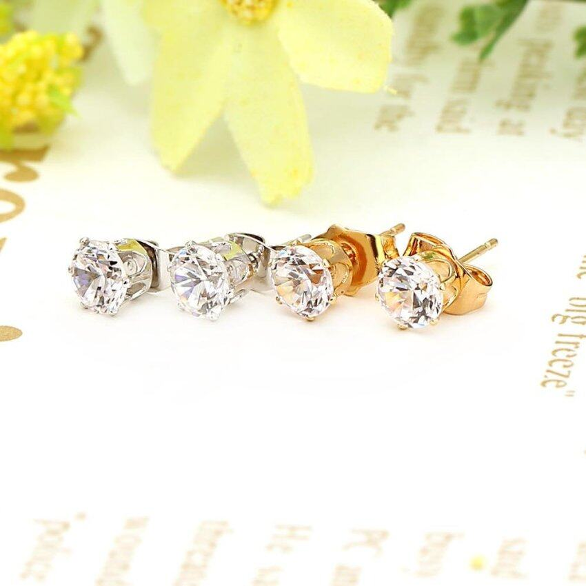 1Pair Clear Crystal Rhinestone 18K Gold Plated Crown Ear Stud Earring Jewelry Gift for W ...