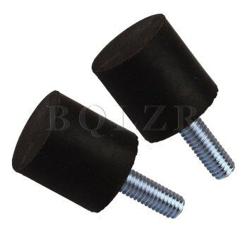 2*2 cm VE M6 MaleThread Flat Base Block rubber Silentblock Set of 2 Black and Silver