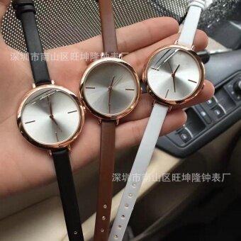 2pcs * Long term wholesale womens fashion watch student quartz watch fashion watchRose golden brown - intl