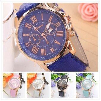 2pcs * Wish speed through the sale of explosive 411 Geneva double face women fashion belt watch manufacturers on behalf of aDeep blue - intl