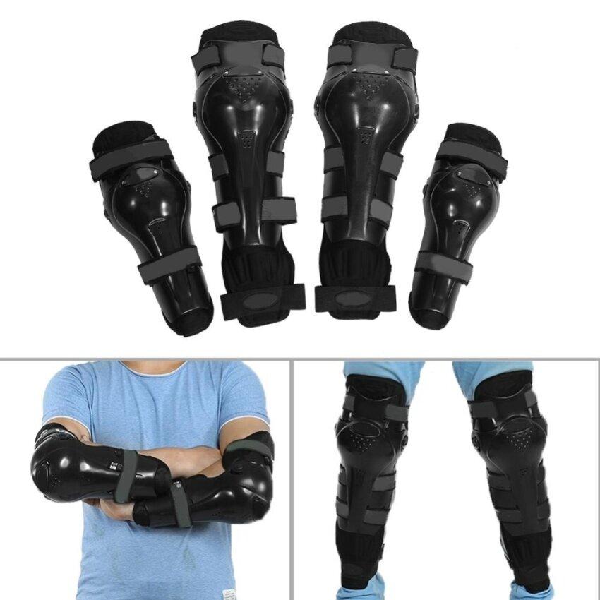 ขาย 4 pcs Motorcycle Motocross Cycling Elbow and Knee Pads Protector Guard Armors Set Black - intl