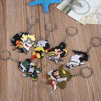 6Pcs Cute PVC Overwatch Pendant Keychain Key Ring Keyring ToyOrnament Gift - intl