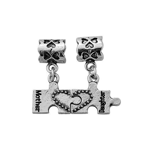 Antique Silver Mother Daughter Puzzle Set Dangles Compatible with European and Italian J ...