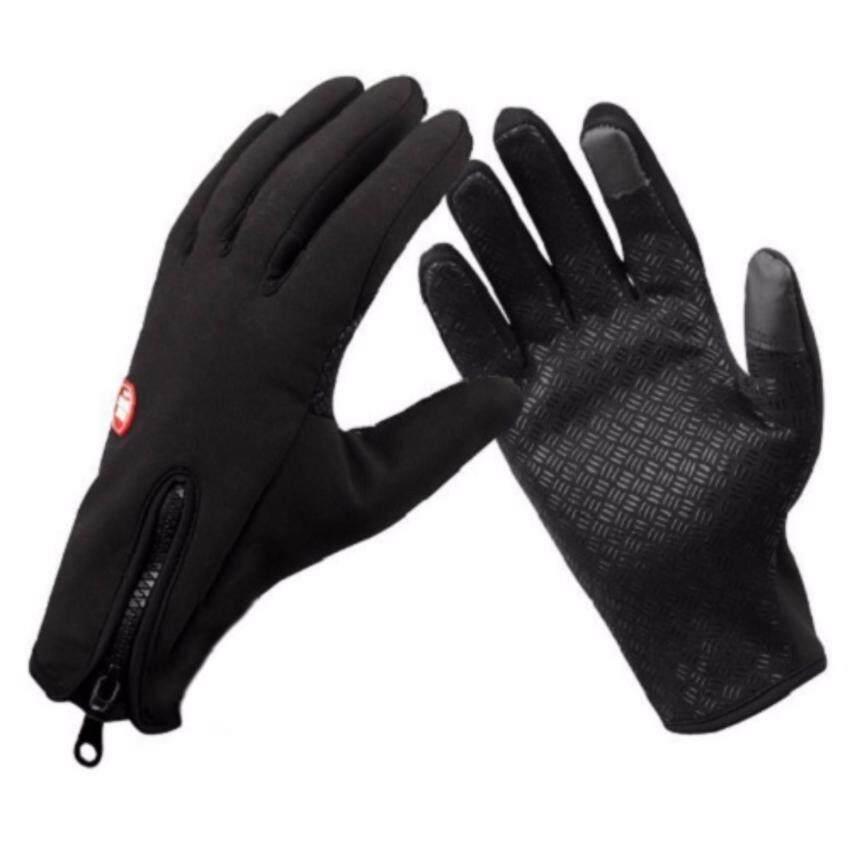 Areeya@Shop ถุงมือขี่มอเตอร์ไซค์ สีดำ /Glove-D07-Black