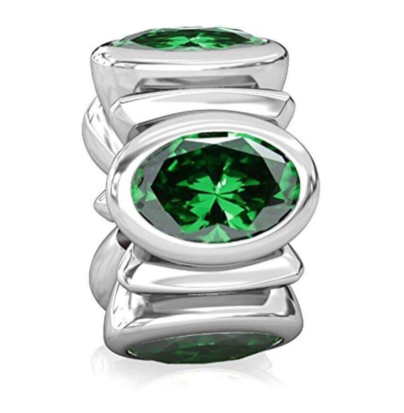 BELLA FASCINI Dark Green Signature Oval CZ Lights - Silver European Charm Beads Fit All  ...