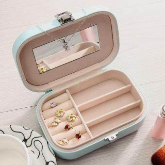 BUYINCOINS Womens Travel Jewelry Box Case Makeup Cosmetic MirrorZipper PU Leather Organizer Container Pink - intl
