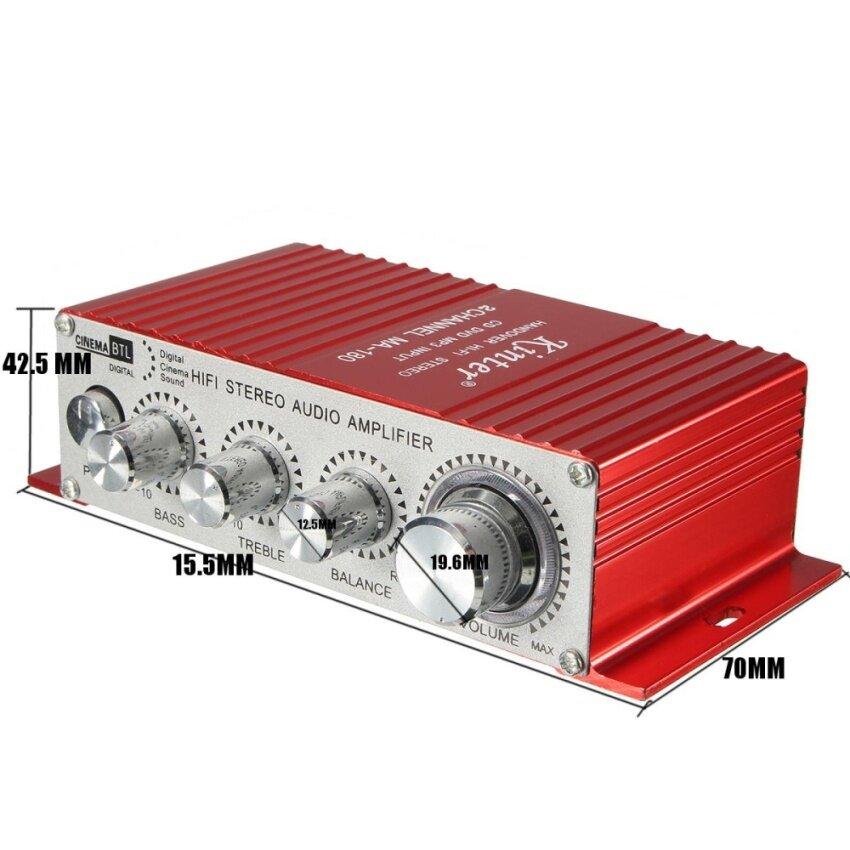 Car DC12V 2-CH AMP USB Bass Digital Cinema Sound Hi-Fi Stereo Audio Amplifier - intl