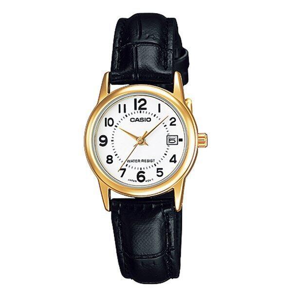 Casio นาฬิกาข้อมือ ผู้หญิง สายหนังสีน้ำตาล รุ่น LTP-V002GL-7B ( White/Black ) / (ประกันC ...