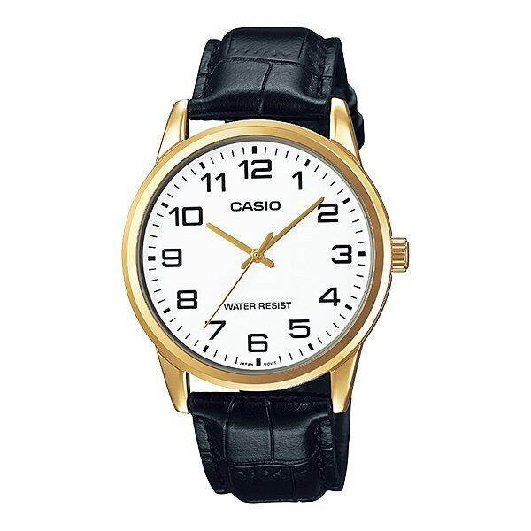 Casio นาฬิกาข้อมือ ผู้ชาย สายหนังสีดำ รุ่น MTP-V001GL-7B ( White/Black )