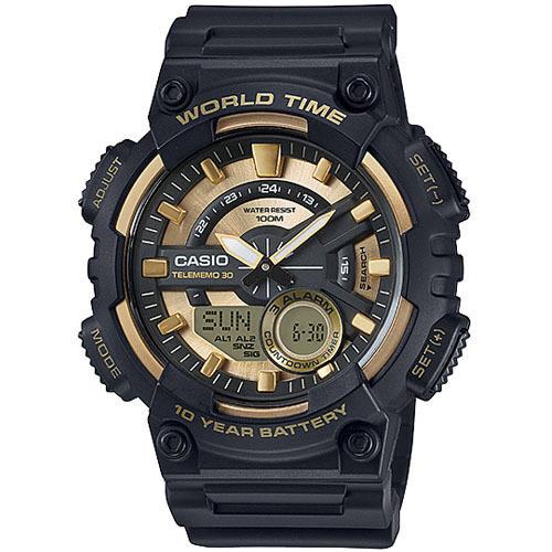 Casio Standard นาฬิกาข้อมือผู้ชาย สีดำ/ทอง สายเรซิ่น รุ่น AEQ-110BW-9AVDF ...
