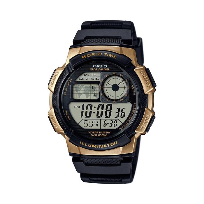 รีบเลย Casio Standard นาฬิกาข้อมือผู้ชาย - รุ่น AE-1000W-1A3VDF Black/Gold (ดำทอง) ลดราคา