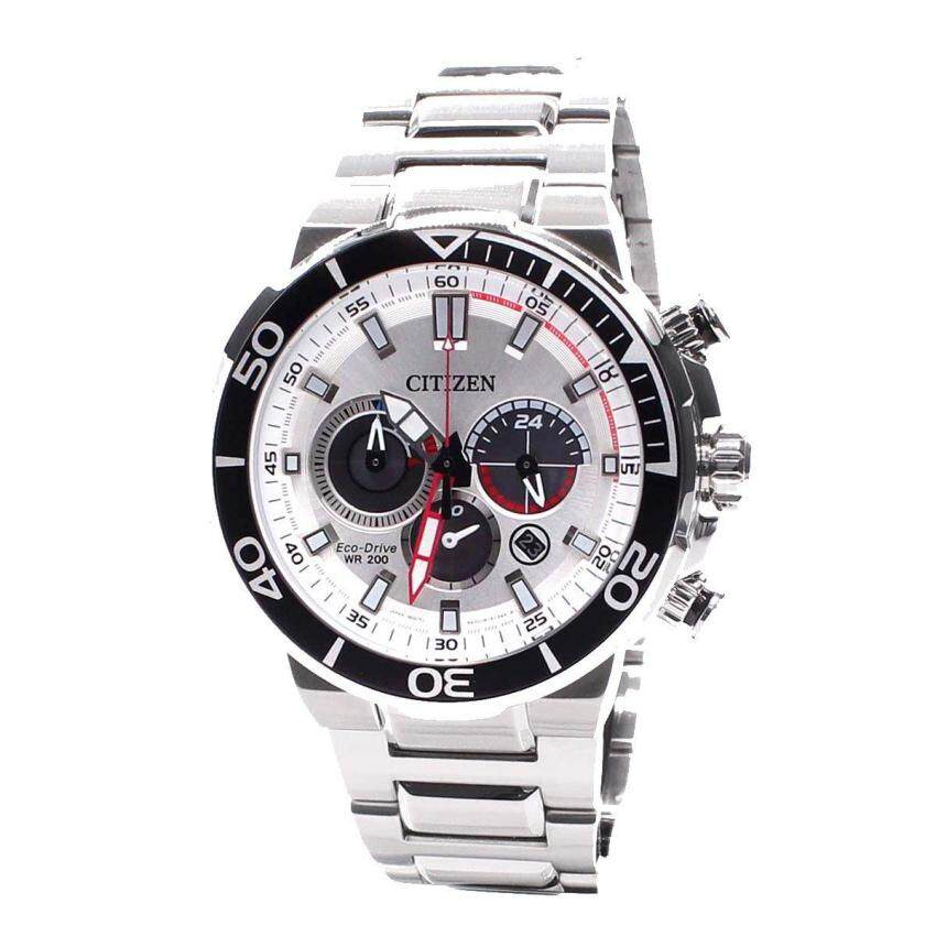 Citizen Watch Eco-Drive Chronograph Silver Stainless-Steel Case Stainless-Steel Bracelet Mens NWT + Warranty CA4250-54A image