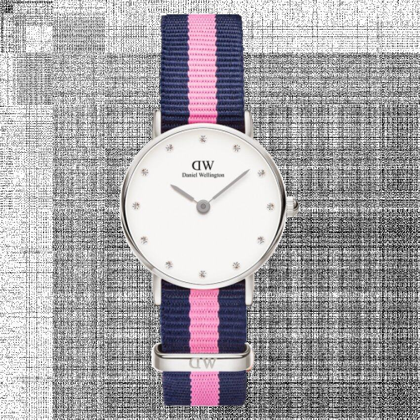 c2d20d4aff4a Daniel Wellington Classy Winchester White Dial Navy and Pink Stripe Nylon  NATO Ladies Watch 0962DW ...