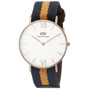 Daniel Wellington Unisex 0554DW Grace Selwyn Rose Gold-Tone Stainless Steel Watch with Striped Nylon Band - intl