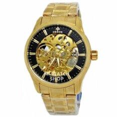 DEBOR นาฬิกาข้อมือชาย AUTO หน้าปัดดำฉลุวงกลม สายเหล็ก (สีทอง)