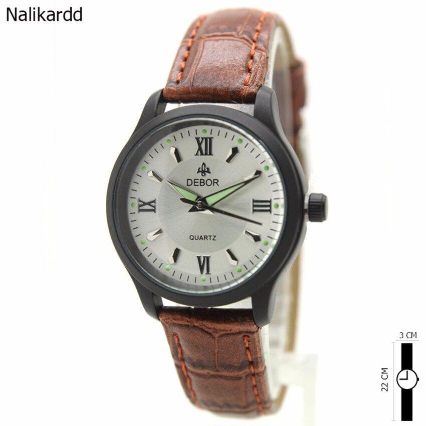 DEBOR Watch นาฬิกาข้อมือสุภาพสตรีและเด็ก สายหนังนำ้ตาล หน้าปัดสีเงิน ระบบเข็ม(เข็มพรามนำ ...