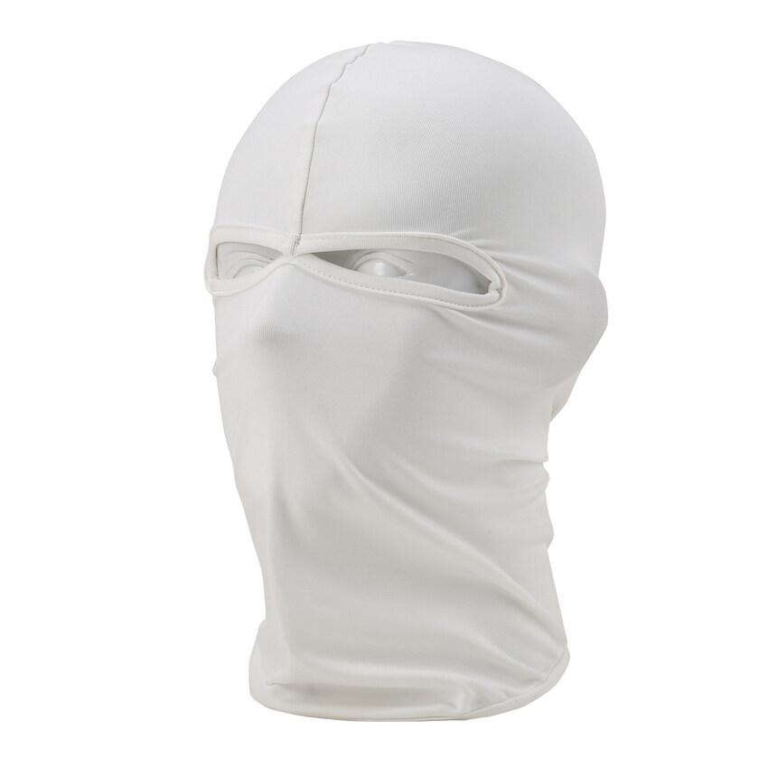 DHS. Comfortable Two Hole Neck Warmer Motorcycle Cycling Balaclava Lycra Full Outdoor Facemask Multicolor (White)