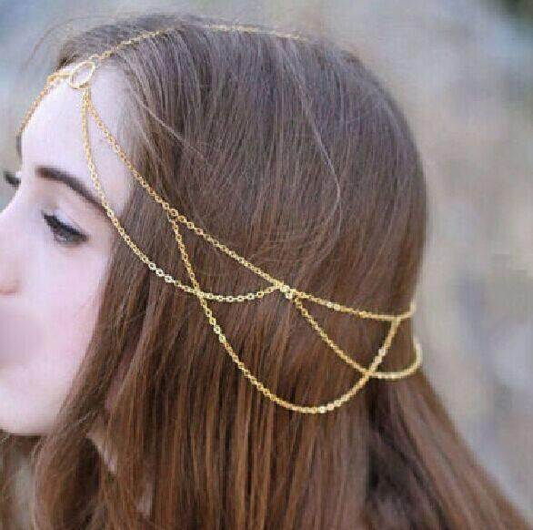 Fang Fang Bohemian Crown Metal Tassel Head Chain Headband Jewelry Headpiece Hair Band (Gold) ...
