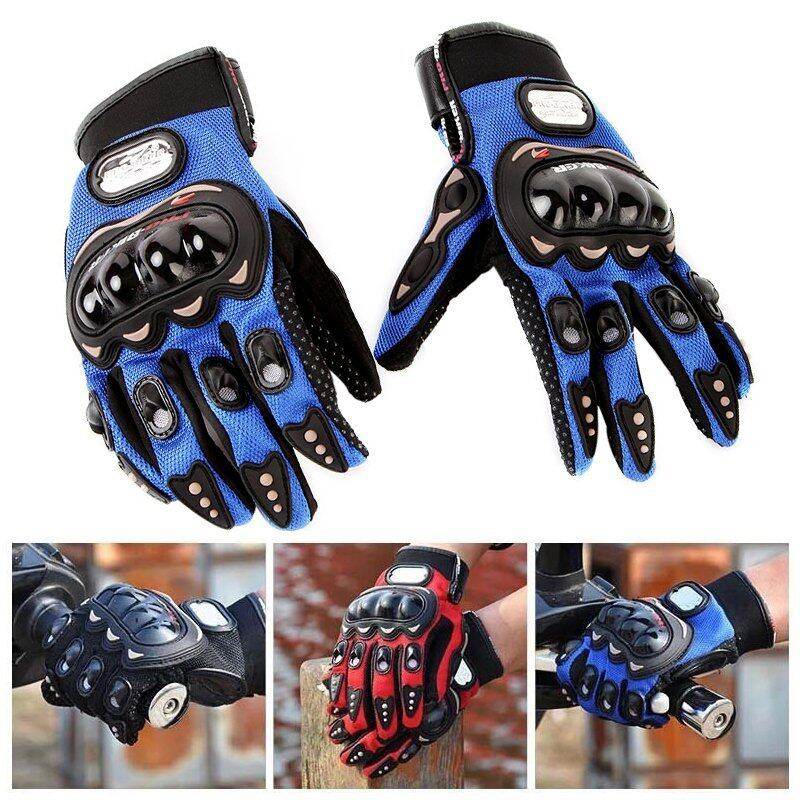 Fashion Durable Full Finger motorcycle gloves Cycling Racing Bike Outdoor Sports Blue M