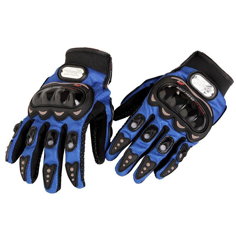 Fashion Durable Full Finger motorcycle gloves Cycling Racing Bike Outdoor Sports Blue XXL