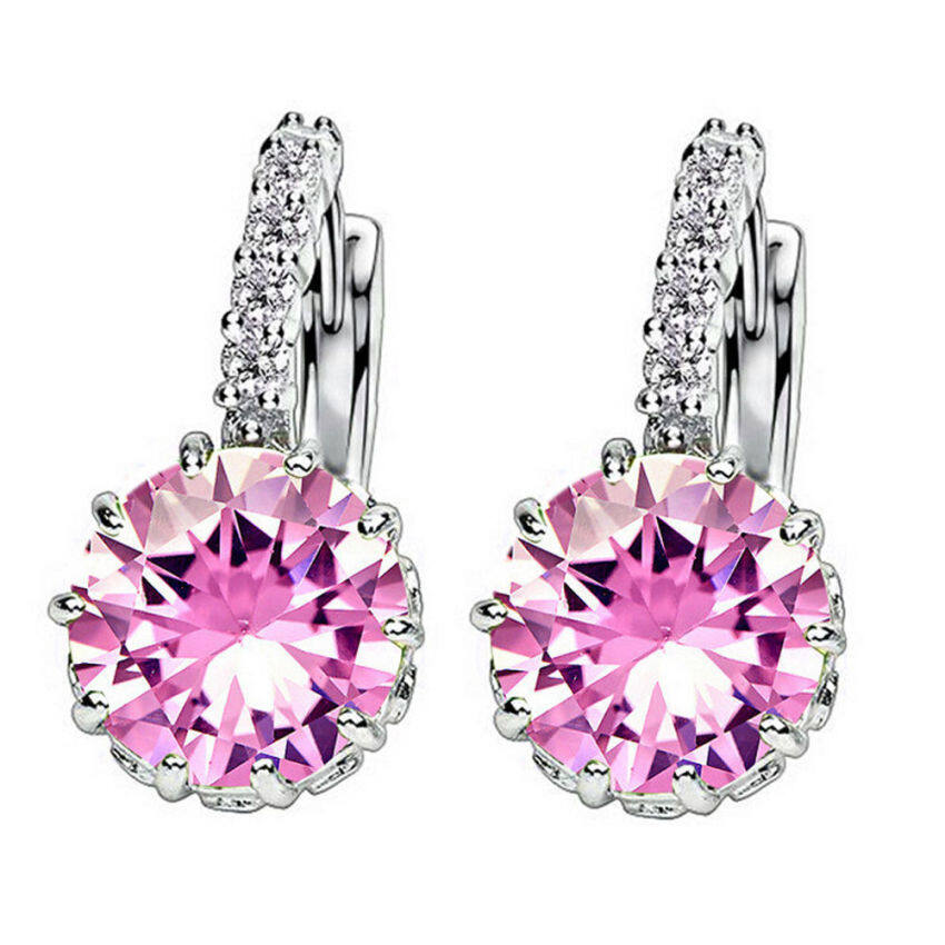 Fashion Women Elegant Crystal Rhinestone Silver Plated Ear Stud Earrings
