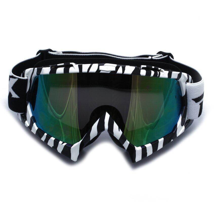 FSH Motorcycle Motocross Ski Snowboard Eye Protection Glasses Goggle Zebra-stripe (Black)
