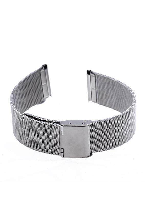 generic durable silver steel strap depolyment buckle watch 20mm