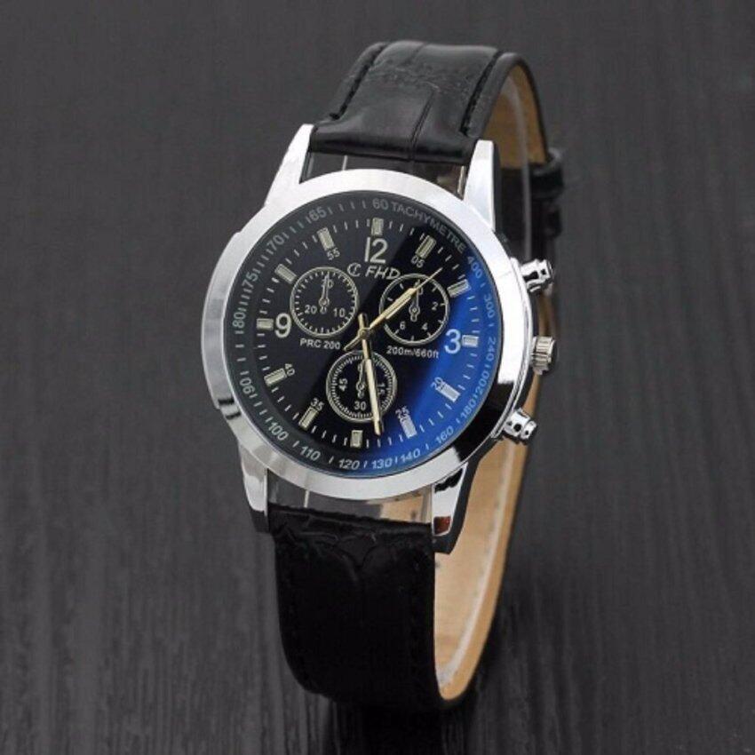 genevaนาฬิกาลำลอง นาฬิกาแฟชั่น นาฬิกาผู้ชาย Quartz หนังเทียมผลึกคล้ายคลึงหรูหราสีน้ำตาลแบรนด์เนมนาฬิกา black ...