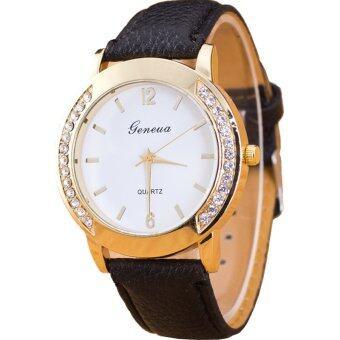 GENEVA Women Watch นาฬิกาข้อมือผู้หญิง PU Leather Strap 0011 - Black image