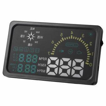 GETEK 6 Inches LED OBD II HUD Head Up Display Over Speeding Warning indicator I6 plus Compass (Black)