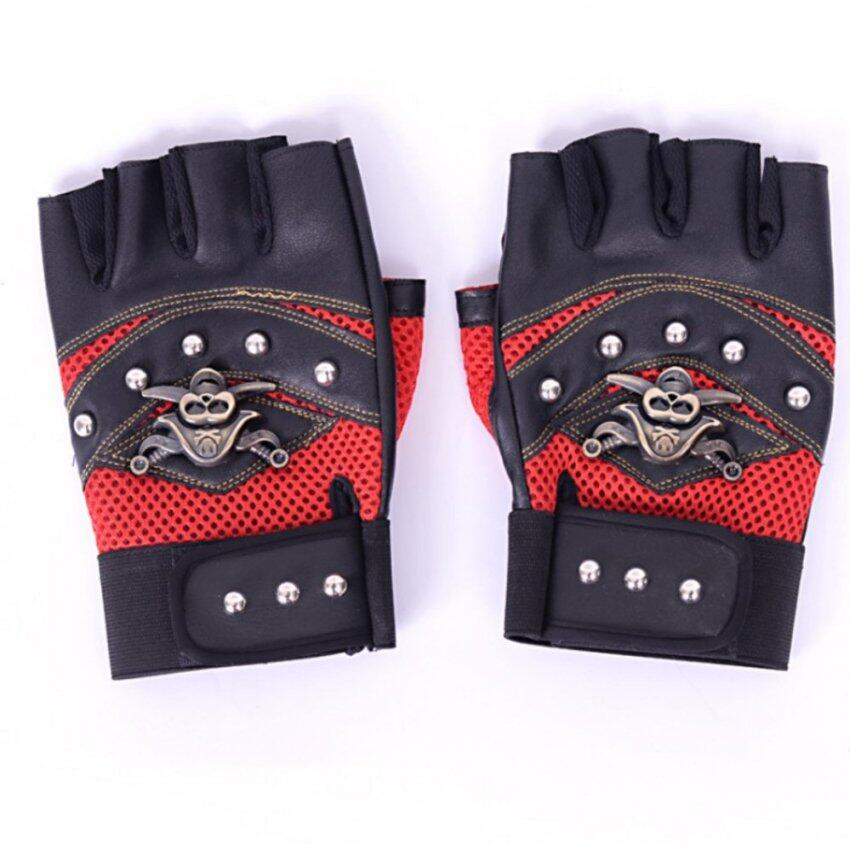 Good Service Fingerless Half Gloves Rivets Leather Gloves Motorcycle Protection Gloves Red - intl