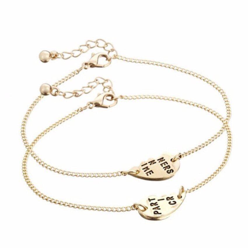 Hequ Best Friends BFF Forever Partners In Crime Valentine Split Heart Pendant Bracelet Set - intl