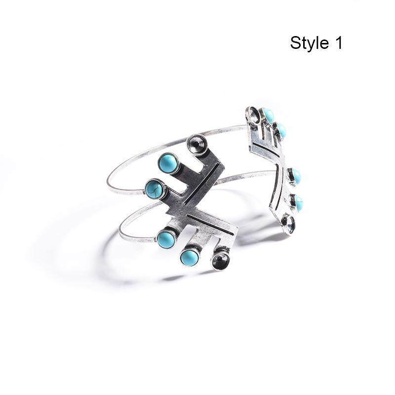High Quality Store New Women Boho Gypsy Silver Plated Bracelets Turquoise Gem Stone Cuff Bangle Jewelry Silver