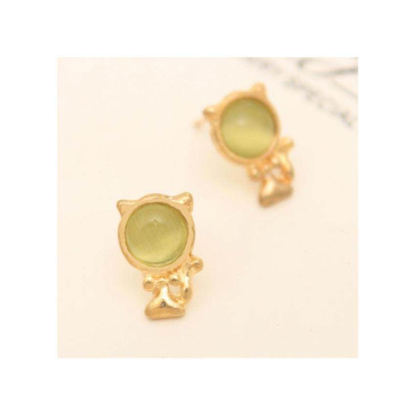 HOT Women Cat Eye Stone Cute Lovely Cat Ear Stud Earring-Green - intl ...