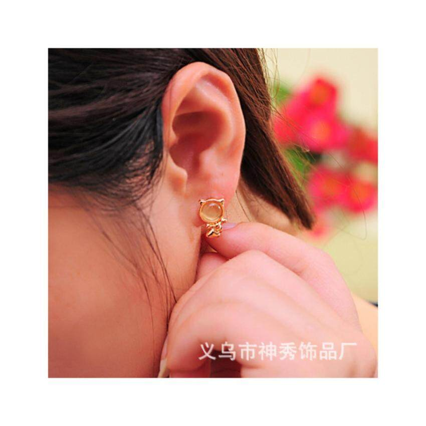 HOT Women Cat Eye Stone Cute Lovely Cat Ear Stud Earring-Pink - intl ...