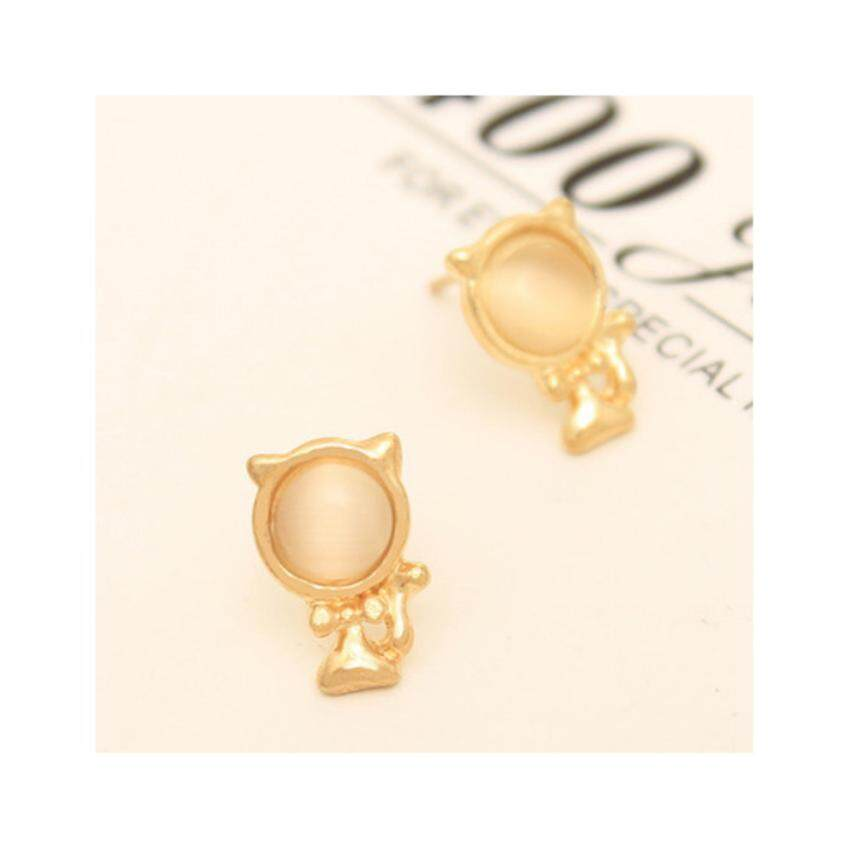 HOT Women Cat Eye Stone Cute Lovely Cat Ear Stud -Yellow - intl ...