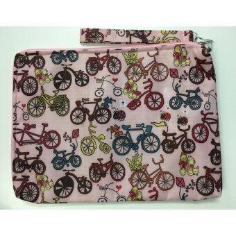 """กระเป๋าใส่ iPad Note Tab Notebook Macbook Labtop สีชมพู ลายจักรยาน 11"""" x 8"""""""