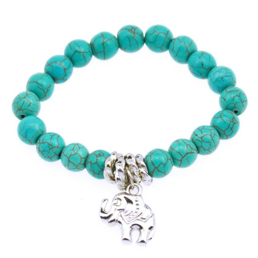 Jiayiqi Elephant Dangle Round Beads Blue Turquoise Stretch Bracelet - Intl ...