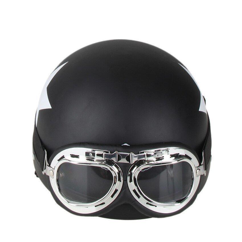JOR Motorcycle Safety Helmet with Goggles Detachable Visor White Star Pattern Black