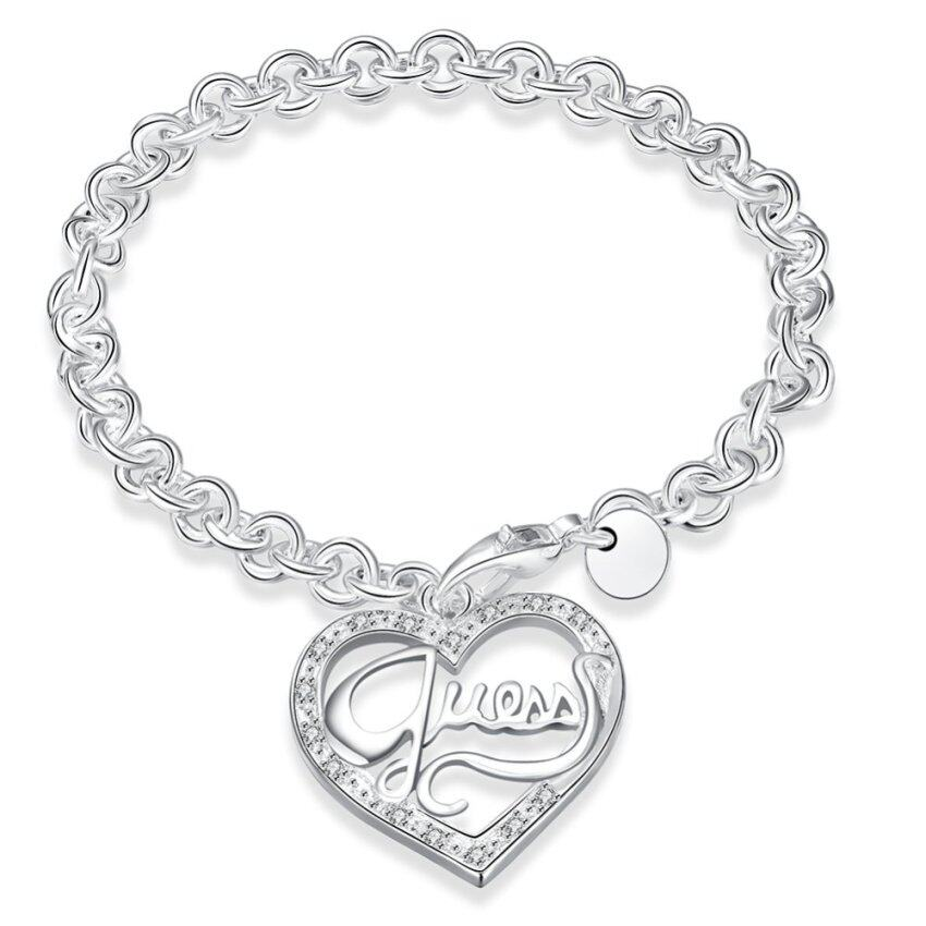 La Vie Sterling Silver GUESS Peach Heart Chain Bracelet (White) ...